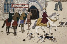 Odiham embroidery, depicting King John setting off from Odiham to Runnymede where Magna Carta was sealed