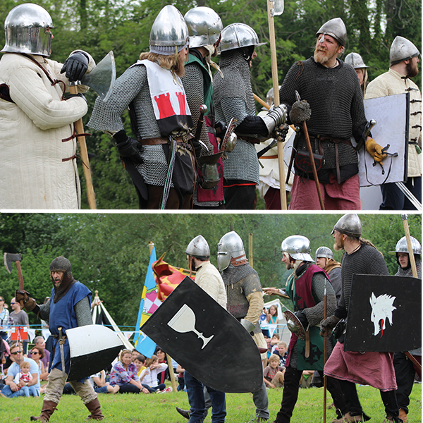 Medieval battle re-enactment: barons vs knights