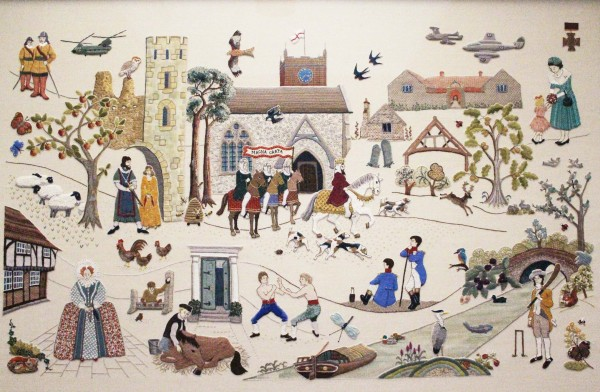 The Odiham embroidery, depicting 800 years of the villages history, stitched using traditional materials and techniques