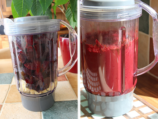 Blend the beets, butter and chocolate until it is smooth red and velvety