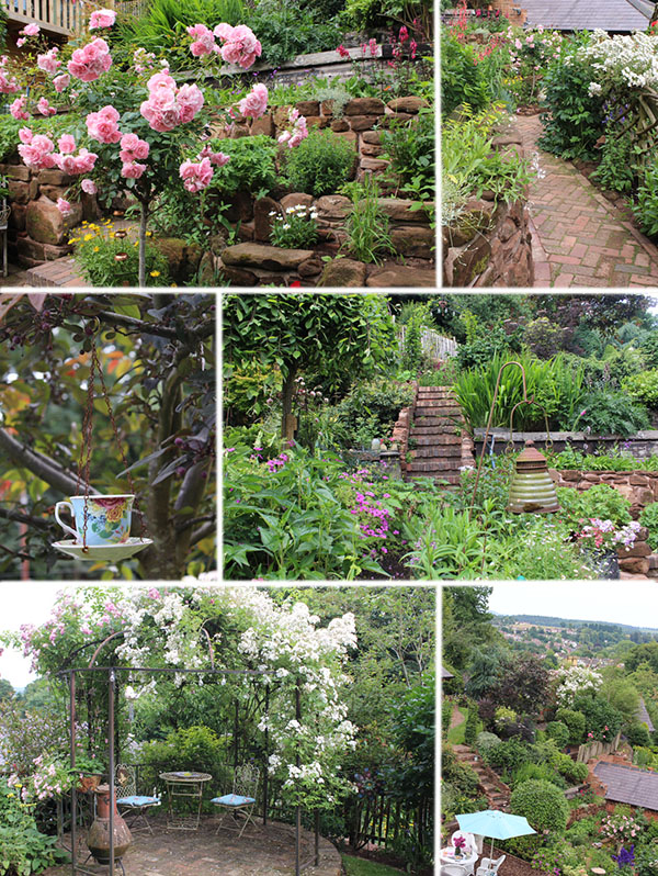 Set over three levels, the owners describe this garden as 'a never-ending project' but it was clearly an accomplished labour of love. The cottage garden planting commanded attention against a back drop of mossy dry stone walls, herringbone brick paths and dozens of fledgling blue tits flitting around the feeders. But it was the artistic flourishes that bedazzled: a bench covered by a willow arch, lanterns in borders and teacups in trees, and toadstools at every turn. I wouldn't have been surprised to find fairies at the bottom of this garden.
