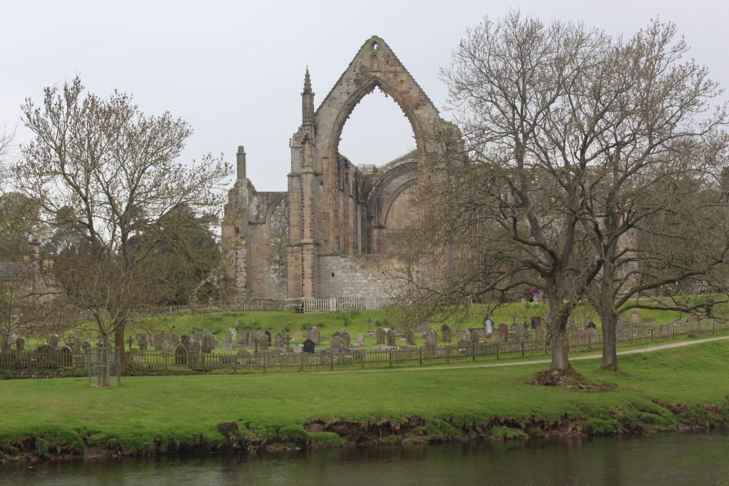 Bolton priory ruins on the edge of the River Wharfe, Yorkshire Dales