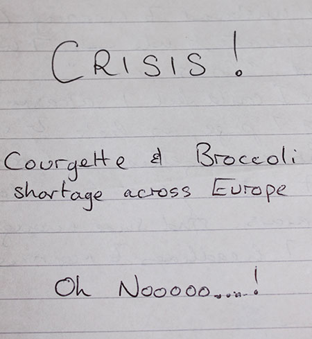 Courgette crisis note