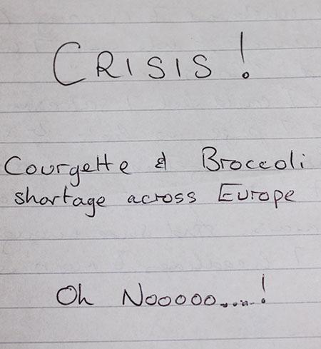 Courgette crisis note